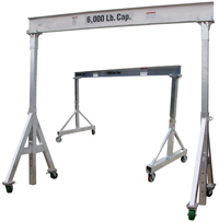 EC&MW Manufactures more models and styles of portable aluminum gantry cranes than any other manufacturer. Shown here are just 2 different styles.