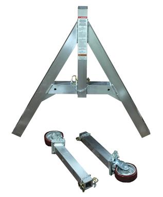 EC&MW removable leg aluminum gantry crane broken down to show its portability.