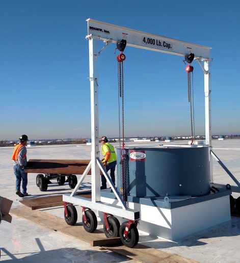 "Shown here is our 4TAC Model air caster aluminum gantry crane. This model utilizes eight 16"" dia air tires."