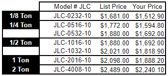 JLC Model Hoist Pricing Chart